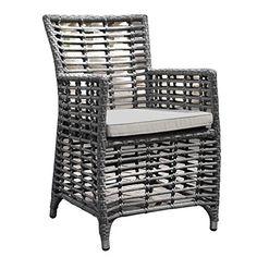 Oasis Lattice Rattan Garden Chair with Light Grey Cushion - Outdoor Armchair