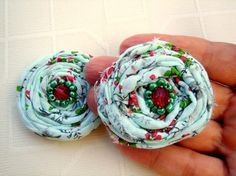 Set of two green ruby red frayed rosettes with by rosesupplies, $8.00