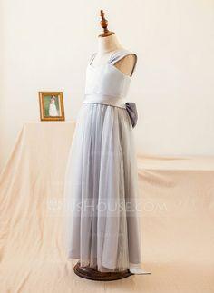 A-Line/Princess Straps Floor-length Bow(s) Satin Tulle Sleeveless Flower Girl Dress Flower Girl Dress