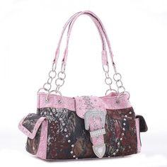 Mossy Oak® Camo Rhinestone Buckle Floral Tooling Handbag – Handbag Addict.com