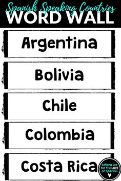 105 best spanish word walls images on pinterest in 2018 learn post the names of 21 hispanic countries around your classroom with this word wall this m4hsunfo