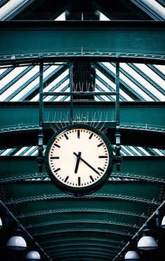 Time for teal. Clock in Berlin, Germany.