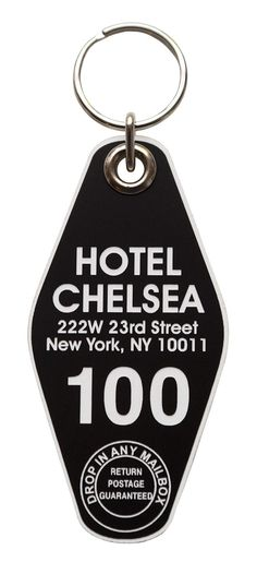 Hotel Chelsea Motel Style Keychain, Room Sid and Nancy's room, of course! Notable for it's star-studded list of residents, this infamous New York hotel lives on in the form of a vintage style motel room key tag! Chelsea New York, Chelsea Hotel, Punk Bedroom, Sid And Nancy, Motel Room, New York Hotels, Vintage Hotels, We Will Rock You, Punk Rock