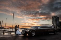 Enrik Limousines at the Docklands, waterfront, stunning Melbourne twilight