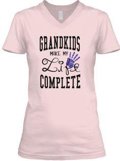 Grandkids Make My Life Complete V-Neck.  Many Colors, Styles and Sizes.   *** grandkids, grandkids, quotes, grandkids & grandparents, grandkids gifts, i love my grandkids, grandkids make life grand, grandkids sayings, grandkids ideas, grandkids shirts