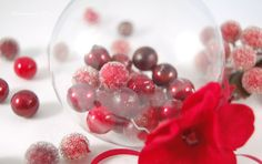 clear glass ornament filled with holly berries - DIY