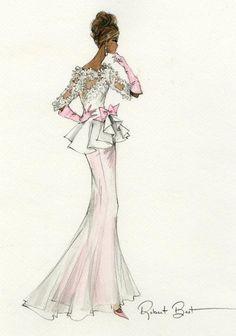 Evening Gown Barbie Sketch by Robert Best