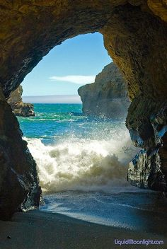 ~~Neptune's Looking Glass | sea cave, Shark Fin Cove Beach, Davenport, California by Darvin Atkeson~~