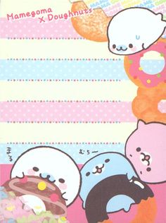 Mamegoma baby seals mini Memo Pad with donuts 4