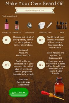 Read my beard oil recipe and get tools: http://www.growabeardnow.com/beard-oil-recipe/