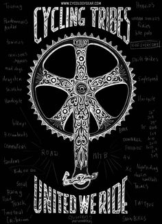 I think cycling is Tribal -with all genres & sub genres of cycling bound by a common Crank. I drew this up on paper with biro and pencil with a combo of Italianate patterns &  Maori Tattooing to look Tribal.