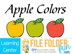 We have a nice selection of free apple themed printables and games. These learning centers are print and play meaning they are ready to go from your printer into your classroom with minimal assembly. Fall Preschool Activities, Preschool Special Education, Autism Activities, Preschool Printables, Kids Education, Toddler Activities, File Folder Activities, File Folder Games, File Folders