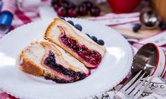 Jessie Jane's 4th of July Cherry Pie Cake with Blueberries