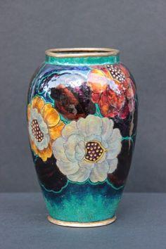 d48466df79c Camille FAURÉ (1874-1956) - LIMOGES Vase de forme oblongue à décor d émaux   ...