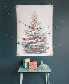 16 Clever and Creative Christmas Wall Trees via Brit + Co. Christmas Tree Poster