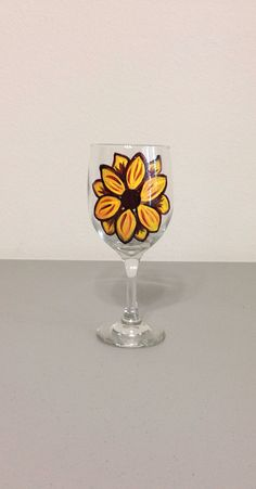 Wine Glass Hand Painted with Sunflower  on Etsy, $15.00