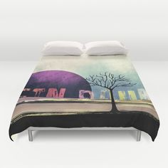 Ein Baum no5 [One Tree no5] Duvet Cover by Pia Schneider [atelier COLOUR-VISION] - $99.00 #painting #art #typography #tree #surrealism #purple #black #blue #bedding #home #decor #blanket #cuvetcover #bedroom #bedroomdecor #piaschneider #ateliercolourvision