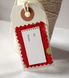 5 To/From Gift Tags Christmas Holiday Red by LaurenHonakerDesign, $4.95