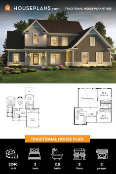 This traditional house plan boasts modern farmhouse details and ieasy living. Check out the cool vaulted ceilings! Questions? Call 1-800-913-2350 today. #architect #architecture #buildingdesign #homedesign #residence #homesweethome #dreamhome #newhome #newhouse #foreverhome #interiors #archdaily #modern #farmhouse #house #lifestyle #design #buildersareessential Family House Plans, Dream House Plans, Traditional House Plans, Traditional Design, Modern Farmhouse Plans, Farmhouse Decor, Vaulted Ceilings, Open Layout, Building Design
