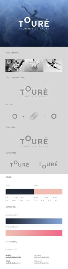 Touré is a highly qualifed Dancing Academy located in Mérida, Yucatán, México that offers several disciplines as baby ballet, ballet, jazz, gymnastics and barre fitness. The Branding proposal as its name suggests it is mainly based on the movement. The lo…