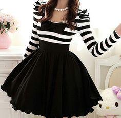 Image via We Heart It #accesories #blackandwhite #cute #fashion #girly #stripdress
