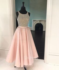 Cute pink sequin tea-long prom dress, pink sequin formal dress for teens,pink homecoming dress