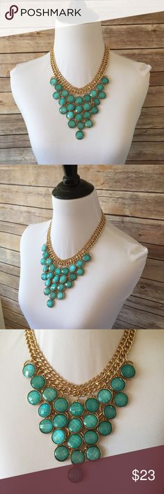 """CHARMING CHARLIE Necklace Look gorgeous in this breathtaking statement necklace from Charming Charlie's. Turquoise pendants cascade down the front held by a double chain. Chain is 18"""" long with 3"""" extender. Excellent used condition. Charming Charlie Jewelry Necklaces"""