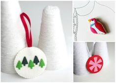 http://www.etsy.com/shop/myhideaway Handmade felt animal brooches, flower brooches, illustrated and embroidered journals, home decor, and one of a kind accessories