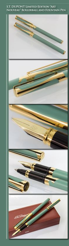 "S.T. DUPONT Limited Edition ""Art Nouveau"" Rollerball and Fountain Pen Set - 4000 units (Chinese lacquer and gold-plated brass body, gold-plated trim, 18kt solid gold nib) - 1993 / France"