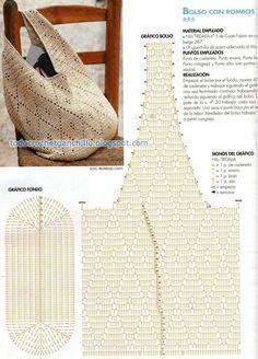 Tutorial bolso crochet ganchillo con punto rombo, patrón y video