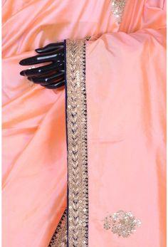 Pure Handloom Silk Embroidery-Peach-Zardosi Work-WG203529
