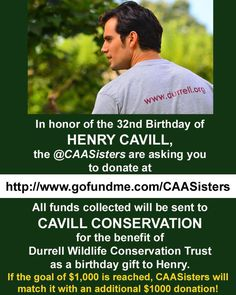 Looking for the perfect bday gift 4 #HenryCavill? Why not donate to www.Gofundme.com/CAASisters.  WE'RE MATCHING OUR GOAL OF $1K! Join us! #henrycavill #superman #manofsteel #manfromuncle #batmanvsuperman