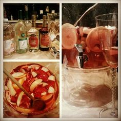 White wine sangria:    -2 bottles of white barefoot moscato wine   -3/4 cup of peach schnapps    -3/4 cup of creme de strawberry    -white cranberry peach cocktail juice (to your taste, I used about a quarter of the bottle)    -lastly just fruit to garnish! (I used apples, strawberries, and grapes)