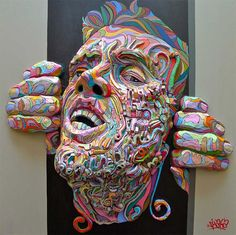 Graffiti Meets Sculpture in Colorful Figures that Explode Through the Canvas by Shaka