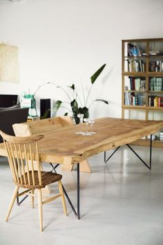 Natural wood Slab Dining Rooms is part of Wooden dining tables - Welcome to Office Furniture, in this moment I'm going to teach you about Natural wood Slab Dining Rooms Wooden Dining Tables, Dining Room Table, Wood Table, Dining Rooms, Rustic Table, Hairpin Dining Table, Steel Table, Table Desk, Outdoor Dining
