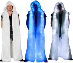Men's Light-up Hooded Duster Rave Clothing, Festival Clothing, Festival Outfits, Future Fashion, Rave Outfits, Halloween Ideas, Hoods, Concert, Party