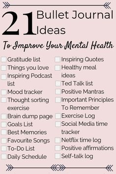 21 Mental Health Bullet Journal Ideas to Help You Relieve Anxiety Fast! Perfect … 21 Mental Health Bullet Journal Ideas to Help You Relieve Anxiety Fast! Perfect to add to your mental health and self care routine! Self Care Bullet Journal, Bullet Journal Ideas Pages, Bullet Journals, Bullet Journal Anxiety, Bullet Journal Prompts, Depression Journal, Bullet Journal Health, Blank Journal, Bujo