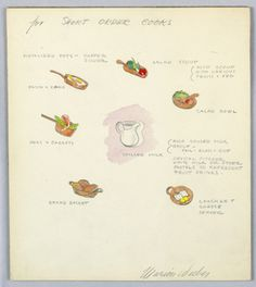 Official Marion Weeber Welsh Drawing, Button Design for Short Order Cooks