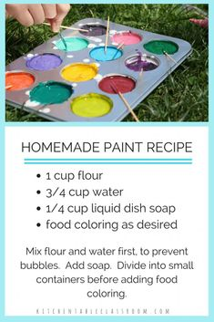 This DIY paint recipe is just as much fun to make as it is to paint with. It only requires three simple household ingredients so it's not too precious to let kids help. Let your little artist… Fun Crafts For Kids, Summer Crafts, Toddler Crafts, Crafts To Do, Projects For Kids, Diy For Kids, Easy Crafts, Summer Fun, Craft Projects