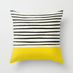 Mustard Yellow & Stripes Couch Throw Pillow by Leah Flores - Cover x with pillow insert - Indoor Pillow Striped Couch, Striped Cushions, Cushions On Sofa, Printed Cushions, Sofa Bed, Yellow Throw Pillows, Decorative Throw Pillows, Colorful Pillows, Cushion Covers
