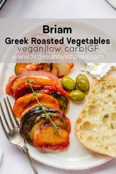 Briam or Briami is a wonderful Mediterranean dish packed with veggies and flavor! It's a traditional Greek dish, and usually enjoyed with feta cheese, crusty bread, and olives. Best Vegan Recipes, Vegetarian Recipes Dinner, Curry Recipes, Easy Healthy Recipes, Veggie Recipes, Easy Meals, Cooking Recipes, Cheap Meals, Vegan Meals