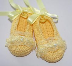 Baby Ballerina Slippers Yellow Crochet Booties by LeftyStitches, $18.99 ♡