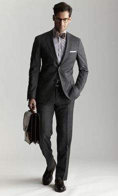 great suit by Michael Bastian for work - love a charcoal windowpane