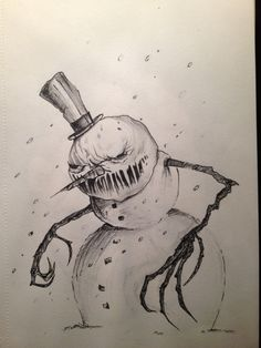 Evil Snowman by angebradley on DeviantArt Creepy Drawings, Dark Art Drawings, Halloween Drawings, Creepy Art, Pencil Art Drawings, Cool Drawings, Drawing Sketches, Creepy Sketches, Arte Horror