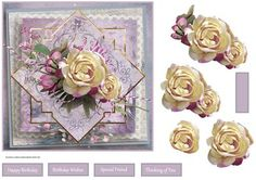 Lemon tinted rose 7x7 card with decoupage on Craftsuprint designed by Angela Wake - Lemon tinted rose 7x7 card with decoupage and sentiment tags - Now available for download!
