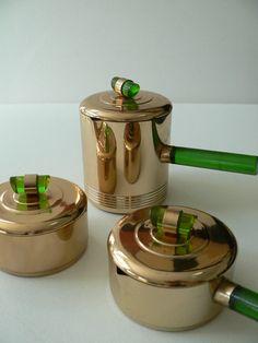 art deco 1930s emerald glo brass and green by secreteyesonly, $120.00