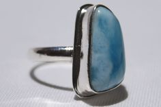 NEW DOMINICAN AA MARBLED FREE-SHAPED LARIMAR STONE SILVER RING SIZE 8.25 JEWELRY #DominicanLarimarStone #FashionRing