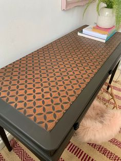 Patterned Furniture, Black Furniture, Furniture Decor, Painted Furniture, Stencil Table Top, Stenciled Table, Black Chalk Paint, Painted Sideboard, Dixie Belle Paint