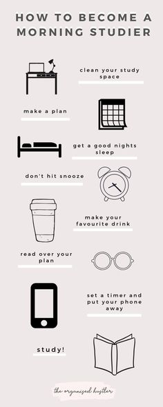 Tips on Becoming a Morning Studier - Image credit: The Organised Hustler Mcat Study Tips, Exam Study, Study Skills, Gre Study, Study Habits, Study Tips For Exams, Study Motivation Quotes, Study Quotes, Daily Motivation