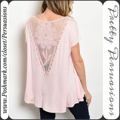 """FINAL SALELAST 1 ~NWT Pink Lace Back Relaxed Top NWT Pink Lace Back Relaxed Top  Available in sizes: S, M, L  Measurements taken in inches from a size small:  Length: 30"""" Bust: 42"""" Waist: 44""""  Material: 95% Rayon; 5% Spandex   This top features a stunning lace back, úber soft material & relaxed easy fit.   Bundle discounts available  No pp or trades ~ Item # 1o1-2-1-0220PLT Pretty Persuasions Tops"""